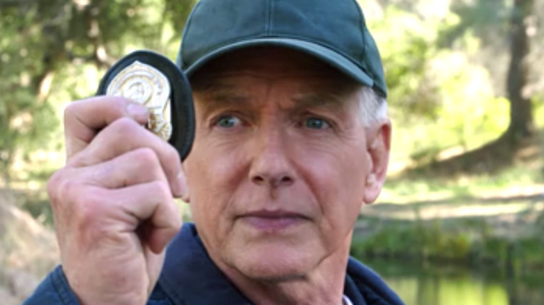 Gibbs NCIS holding his badge up
