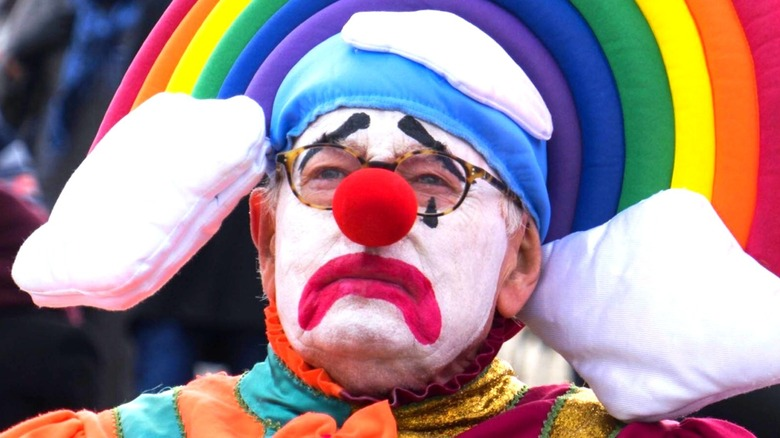 Michael Whitehall in clown getup