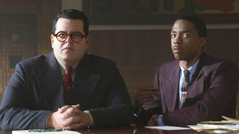 Josh Gad and Chadwick Boseman in Marshall