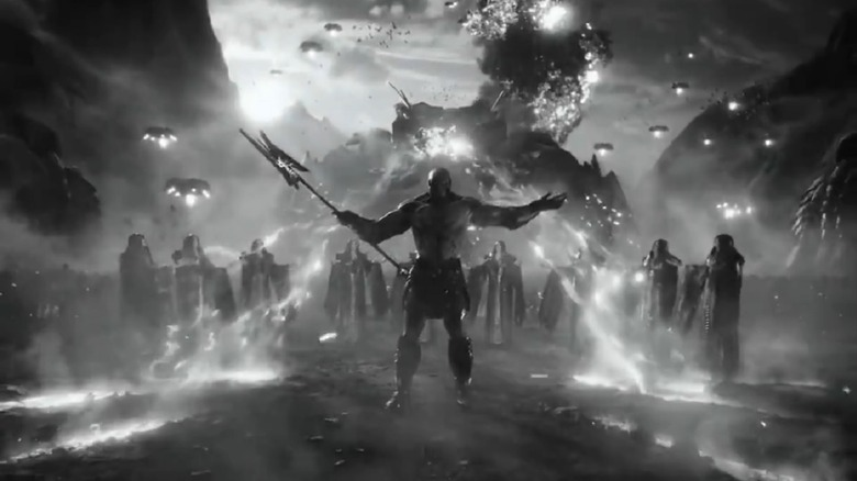 A dramatic shot from the new trailer for Zack Snyder's Justice League
