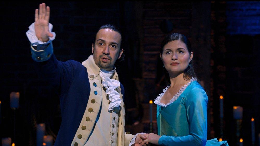 Phillipa Soo as Eliza Hamilton and Lin-Manuel Miranda as Alexander Hamilton in Disney+'s Hamilton