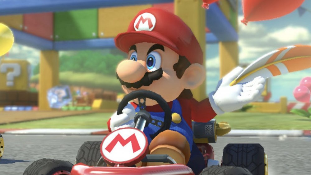 Mario at the finish line in Mario Kart 8 Deluxe