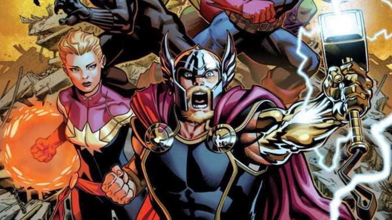 Marvel comics panel featuring Thor, Captain Marvel