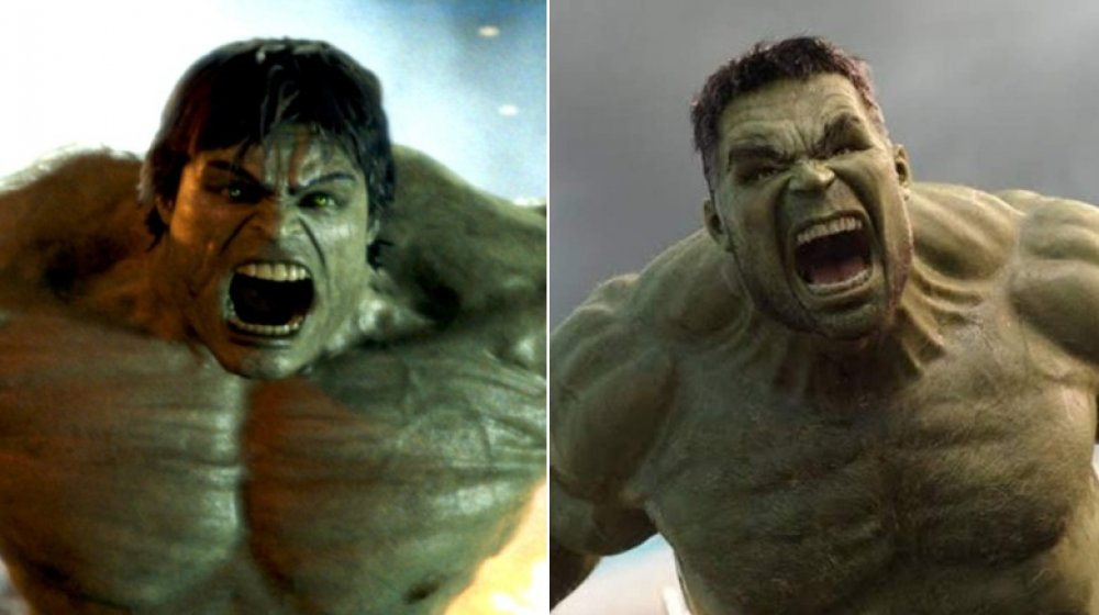 Split image of the Norton Hulk from Incredible Hulk and the Ruffalo Hulk from Thor: Ragnarok