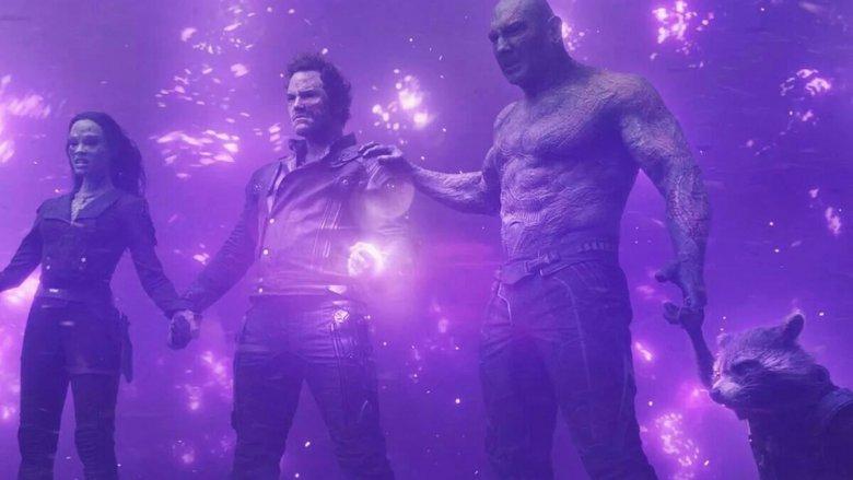 Zoe Saldana, Chris Pratt, and Dave Bautista in Guardians of the Galaxy