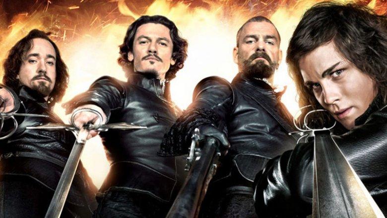 The Three Musketeers Logan Lerman as d'Artagnan, Matthew Macfadyen as Athos, Ray Stevenson as Porthos, and Luke Evans as Aramis