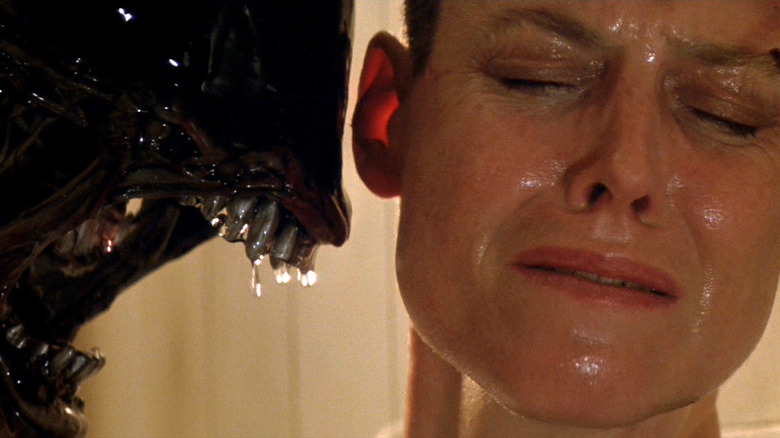 Sigourney Weaver is menaced up close in 'Alien 3'