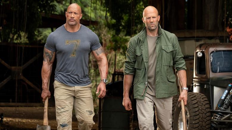 Dwayne Johnson and Jason Statham as Hobbs and Shaw