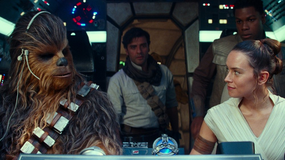 Chewbacca, Rey, Poe, and Finn in The Rise of Skywalker