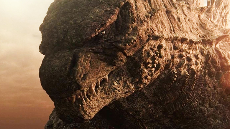 Godzilla facing off against Kong