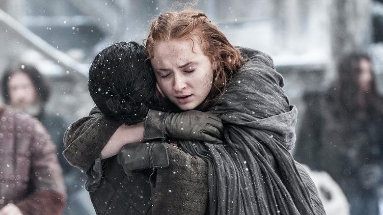 Sansa and Jon reuniting.