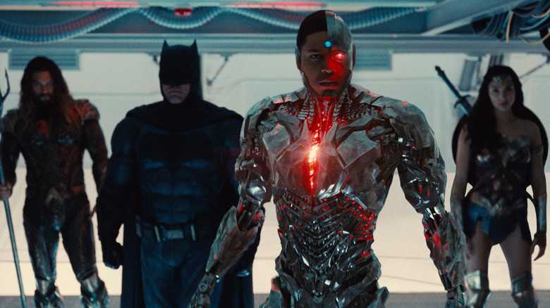Ray Fisher, Jason Momoa, Ben Affleck, and Gal Gadot in Justice League