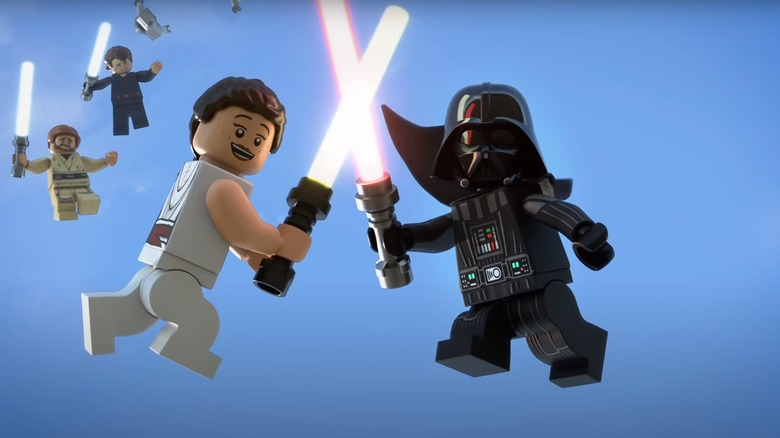 Rey and Vader in the Lego Star Wars Holiday Special