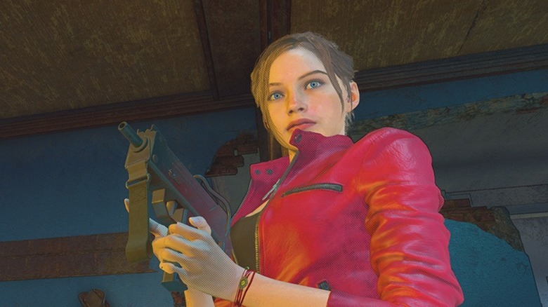 Resident Evil Re:Verse heroine stands with gun
