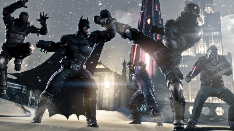 Batman fighting bad guys