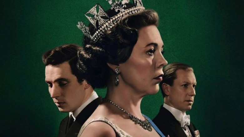Olivia Colman, Josh O'Conner, and Tobias Menzies from The Crown