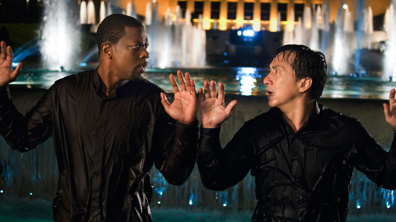 Chris Tucker and Jackie Chan hands up