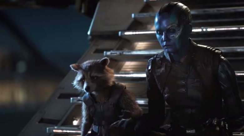 Bradley Cooper as Rocket and Karen Gillan as Nebula in Avengers: Endgame
