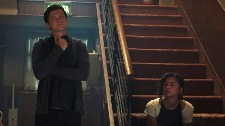Tom Holland as Peter Parker and Zendaya as Michelle/MJ in Spider-Man: Far From Home