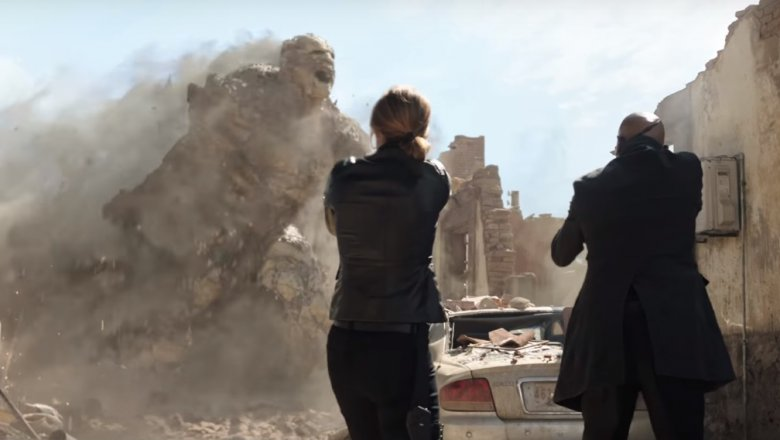 Cobie Smulders as Maria Hill and Samuel L. Jackson as Nick Fury in Spider-Man: Far From Home