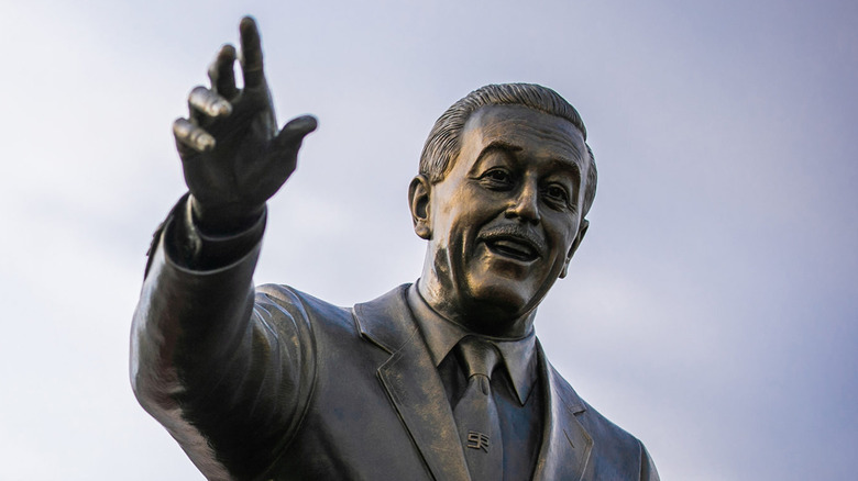 A statue of Walt Disney in Walt Disney World's Magic Kingdom park