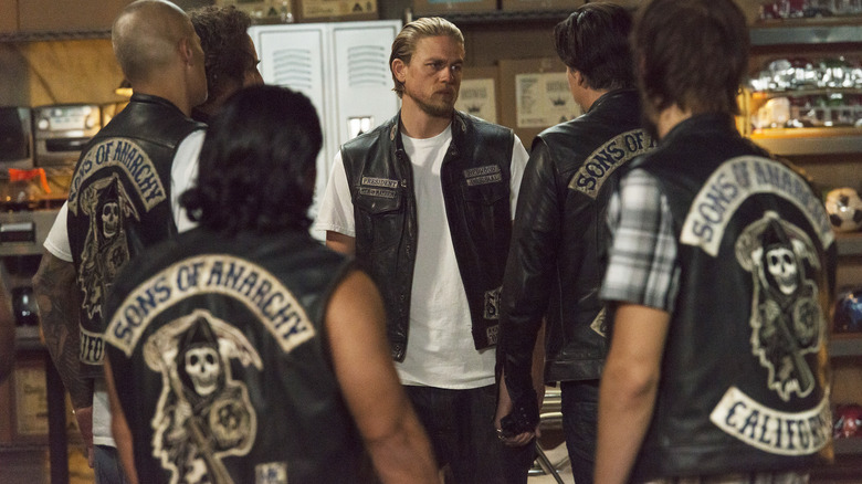 Charlie Hunnam as Jax Teller and other cast members on FX's Sons of Anarchy