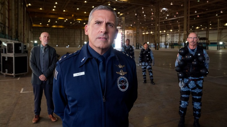 Steve Carell in a plane hanger on Space Force