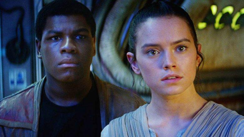 John Boyega and Daisy Ridley as Finn and Rey