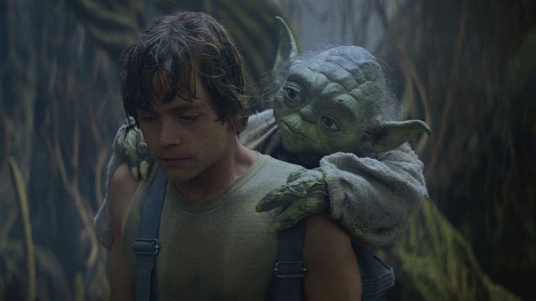 Mark Hamill and Yoda puppet in The Empire Strikes Back