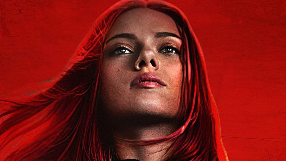 Black Widow Scarlett Johansson red background