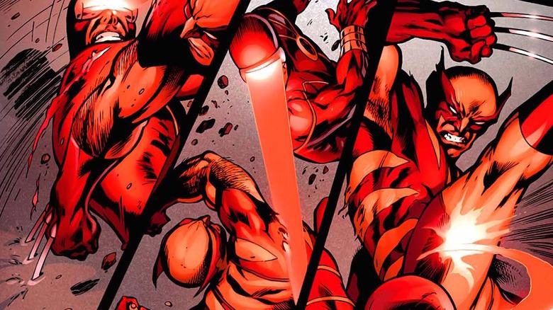 Wolverine fighting Cyclops
