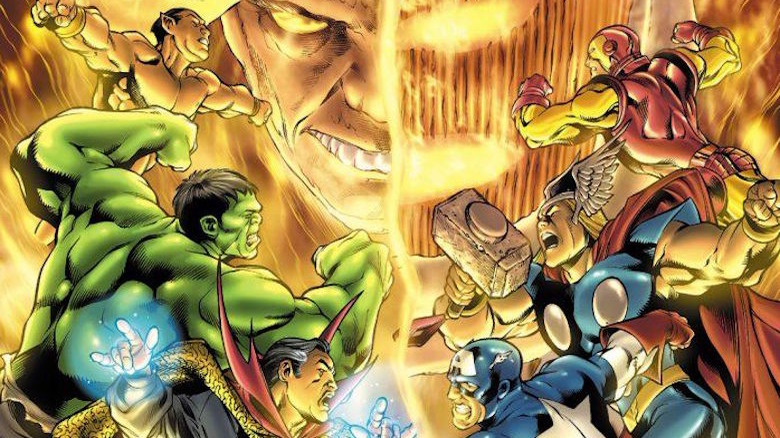 The Defenders and Avengers charging each other