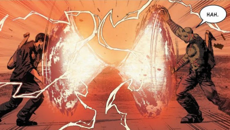 Drax and Arthur Douglas holding two worlds apart in Infinity Wars #6