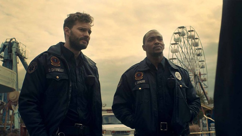 Anthony Mackie and Jamie Dornan star in the sci-fi/horror film Synchronic