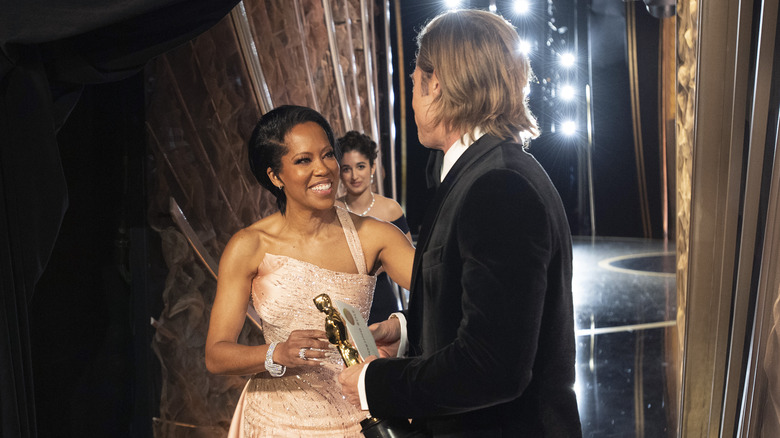 Regina King and Brad Pitt at the Academy Awards 2020