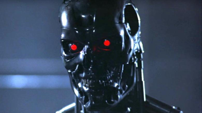 metallic Terminator skull