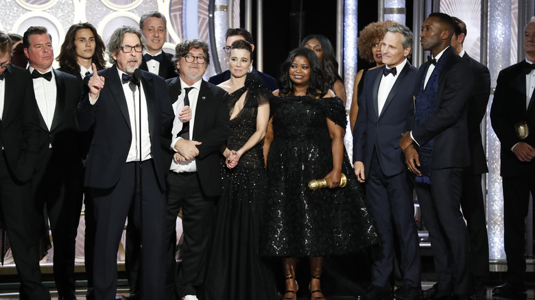 Peter Farrelly accepting the Golden Globe for Green Book