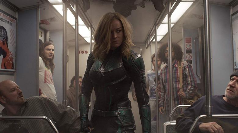 Captain Marvel on the train