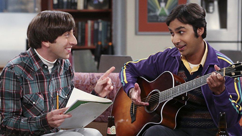 Simon Helberg and Kunal Nayyar as Howard Wolowitz and Rajesh Koothrappali on The Big Bang Theory