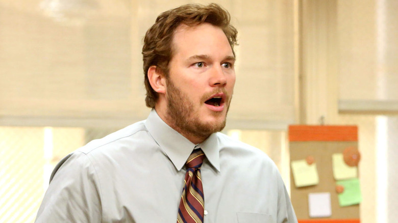 Andy mouth open in shock Parks and Rec