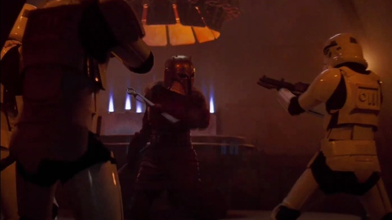 The Armorer fight scene in The Mandalorian