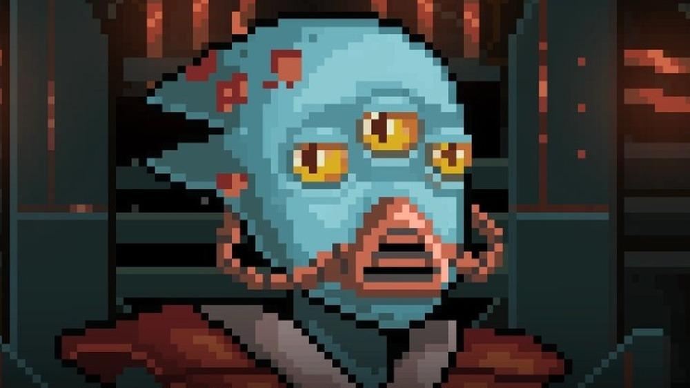 blue alien wearing mask