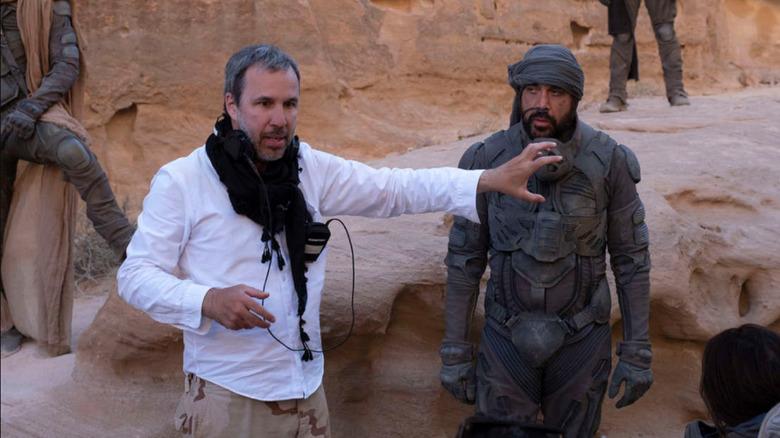 Director Denis Villeneuve on the set of Dune