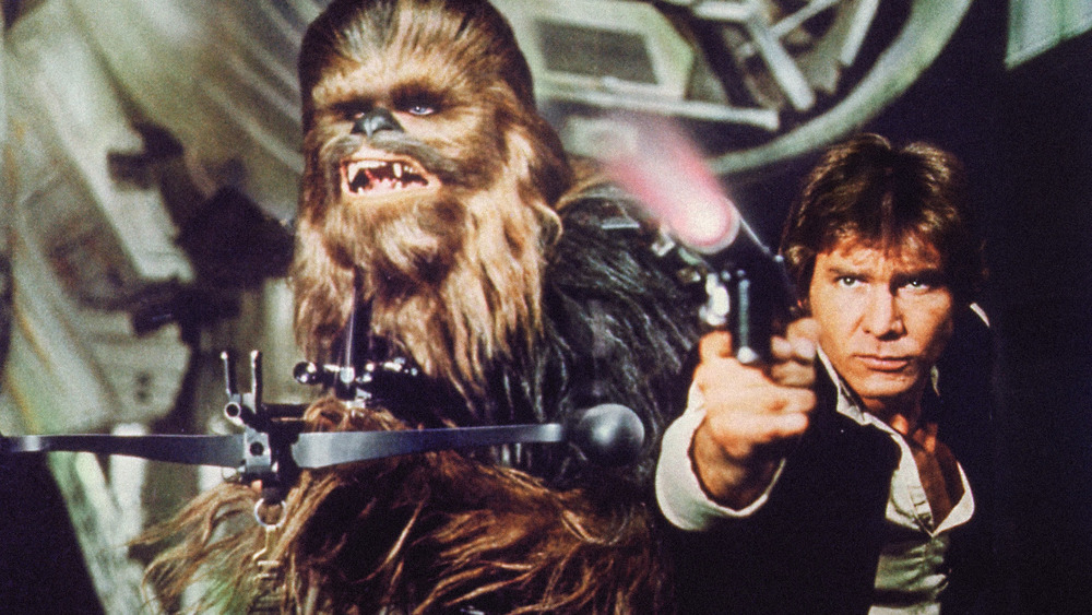 Han and Chewie with blasters