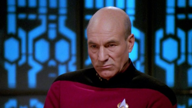 "Patrick Stewart as Jean-Luc Picard in ""The Drumhead"""