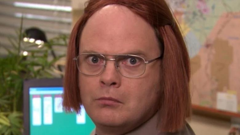 Dwight Schrute in a wig