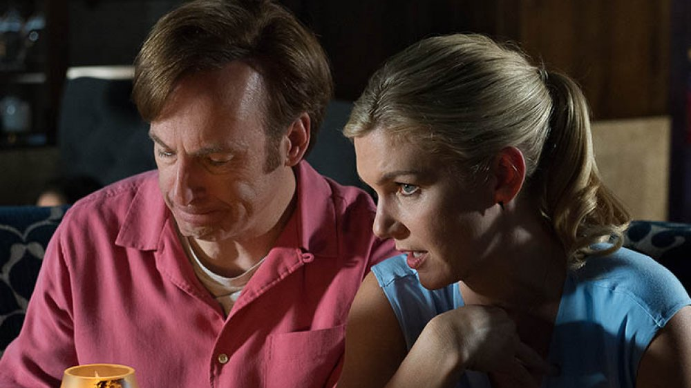 Bob Odenkirk as Jimmy and Rhea Seehorn as Kim scamming a mark on Better Call Saul