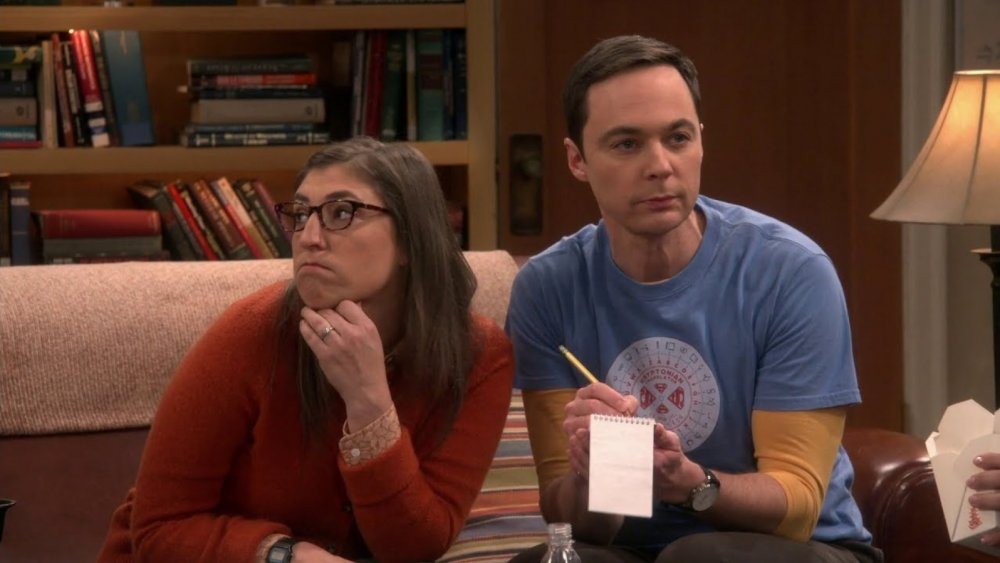Mayim Bialik as Amy Farrah Fowler and Jim Parsons as Sheldon Cooper on CBS' The Big Bang Theory