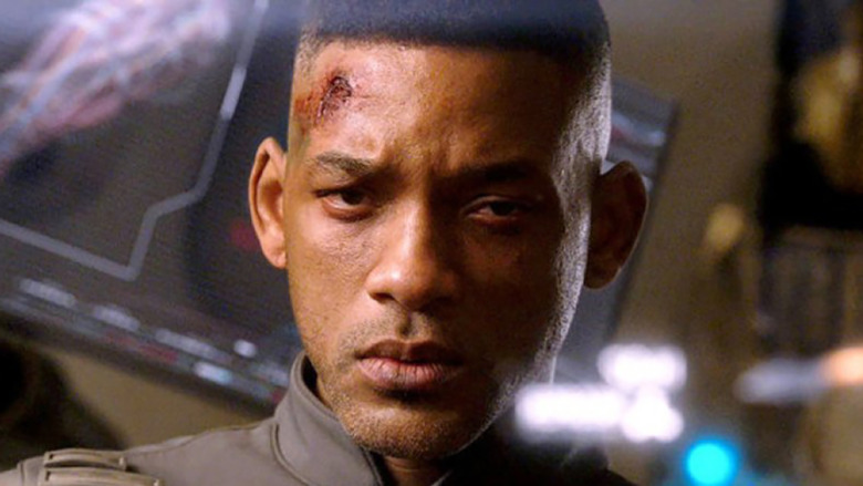 A bloodied Cypher looking into the camera in a scene from After Earth