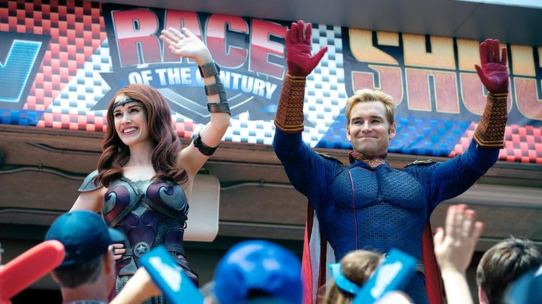 Antony Starr and Dominique McElligott as Homelander and Queen Maeve on The Boys